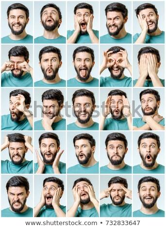 Homem muitos expressões faciais ilustração sorrir cara Foto stock © colematt
