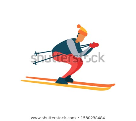 Experienced Skier on Fast Skis Moving Downhill Stock photo © robuart