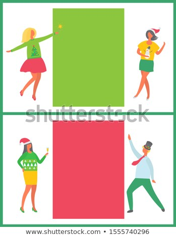 dancing man woman in green sweater with fir trees stock photo © robuart