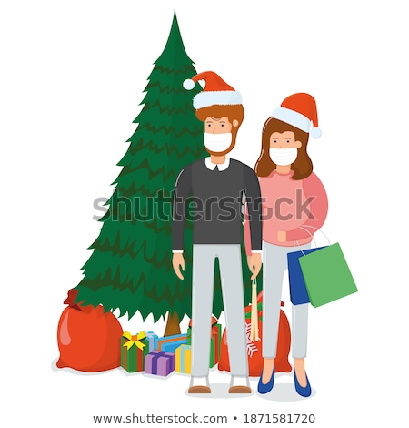 Man and Woman with Bags Isolated Vector Merry Xmas Stock photo © robuart
