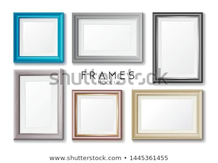 Realistic rectangular gold frame template, frame on the wall mockup with decorative borders Stock photo © MarySan