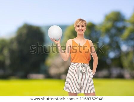 Tinilány röplabda nyár park sport szabadidő Stock fotó © dolgachov