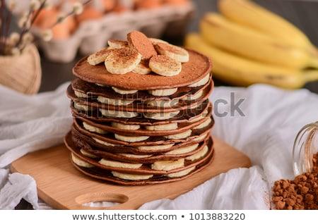 Eigengemaakt chocolade banaan pannenkoeken mooie dessert Stockfoto © Peteer