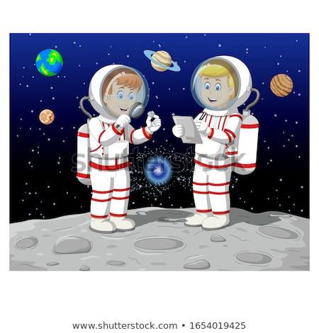 Kettő nulla gravitáció pop art retro giccs Stock fotó © studiostoks