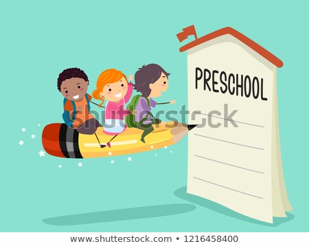 Stickman Kids Pencil Ride Preschool Enroll Stock photo © lenm