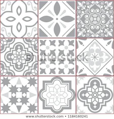 Azulejos seamless vector pattern, gray Portuguese Lisbon tiles design with fleur de lis, flowers and Stock photo © RedKoala
