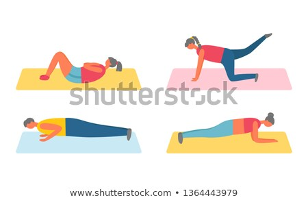Pumping People on Mat, Human in Sportswear Vector Stock photo © robuart