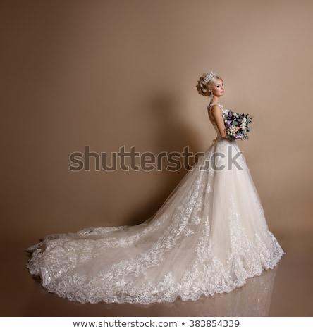 シルエット 小さな 花嫁 ウェディングドレス 花束 手 ストックフォト © UrchenkoJulia