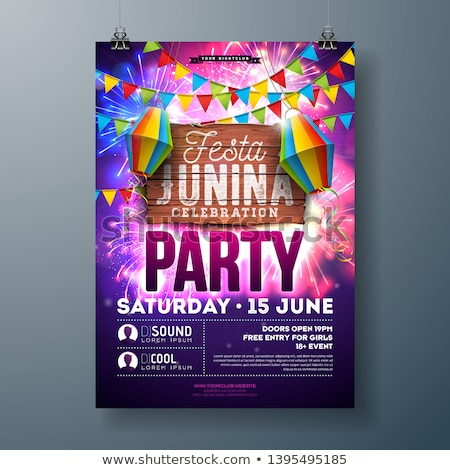 festa junina party flyer design with flags paper lantern and typography design on vintage wood back stock photo © articular