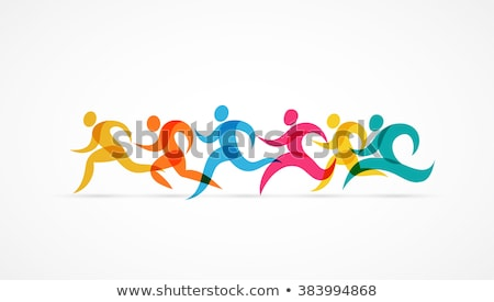 Foto stock: Running Marathon Colorful People Icon And Symbol
