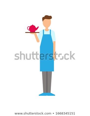 Cameriere bollitore isolato lavoratore uniforme Foto d'archivio © robuart