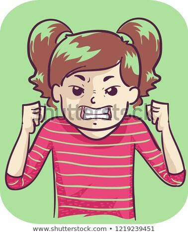 Nino nina ira ilustración enojado las manos en alto Foto stock © lenm