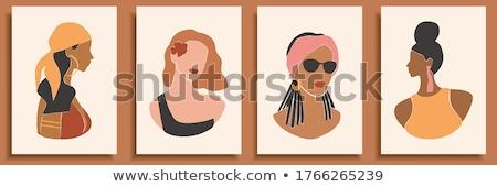 Haj napozás barna bőr plakátok szett vektor Stock fotó © robuart