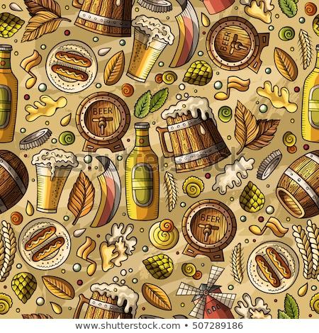 cerveja · barril · trigo · mesa · de · madeira · luz · vidro - foto stock © balabolka