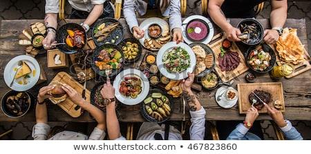Frische Lebensmittel Tabelle Essen Gesundheit Hintergrund Stock foto © ra2studio