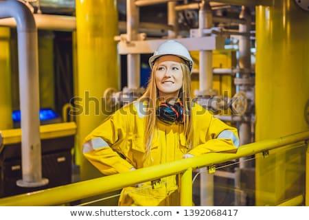 желтый работу равномерный очки шлема Сток-фото © galitskaya