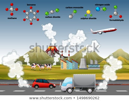 Aria inquinamento poster diverso molecole illustrazione Foto d'archivio © bluering