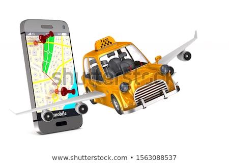 Amarelo táxi branco isolado ilustração 3d telefone Foto stock © ISerg