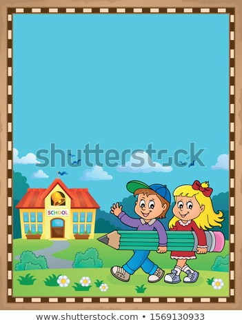 Children holding pencil theme parchment Stock photo © clairev