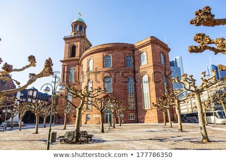 Kerk Frankfurt Duitsland wolkenkrabber gebouwen stedelijke Stockfoto © manfredxy