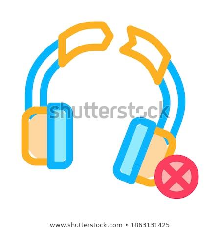 Broken Earphones Icon Vector Outline Illustration Stock photo © pikepicture