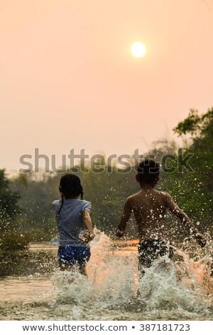 家族 滝 水 少女 赤ちゃん ストックフォト © Lopolo