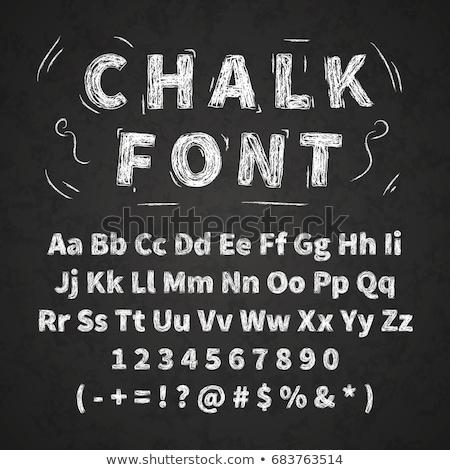 Terug naar school illustratie krijt typografie zwarte schoolbord Stockfoto © articular