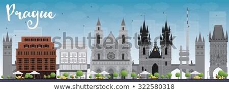 Praga linha do horizonte cinza blue sky cidade parede Foto stock © ShustrikS