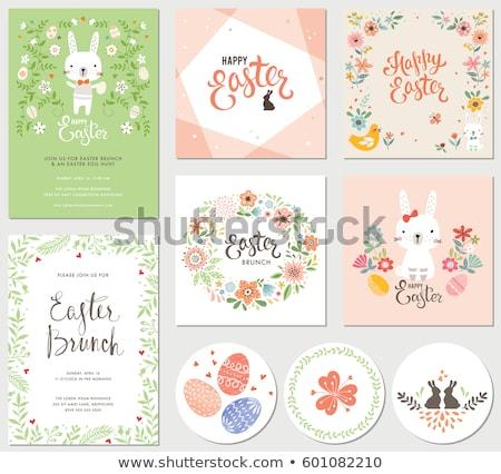 Iyi paskalyalar kart sevimli bebek tavşan yumurta Stok fotoğraf © cienpies