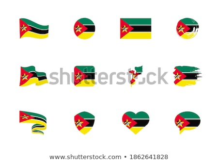 National flag of the Mozambique in the shape of a heart and the inscription I love Mozambique. Vecto Stock photo © butenkow