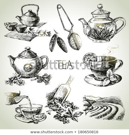 чайная ложка ромашка чай полный фон Сток-фото © AlphaBaby
