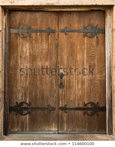 暗い · ブラウン · 木製 · ドア · 鉄 · 家 - ストックフォト © frankljr