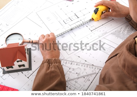 Nauwkeurig tekening vloer hand man Stockfoto © zurijeta