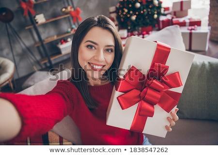 mikulás · lány · ajándék · izolált · fehér · nő - stock fotó © Nobilior