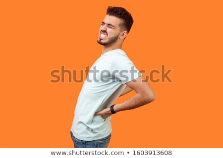 homem · sofrimento · pescoço · dor · no · ombro · isolado · cinza - foto stock © imarin