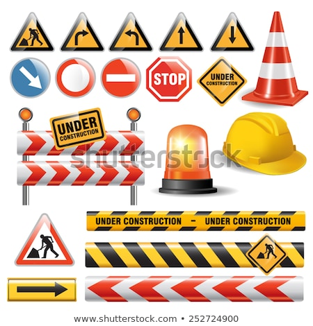 White arrow on the road and orange cone Stock photo © nuttakit