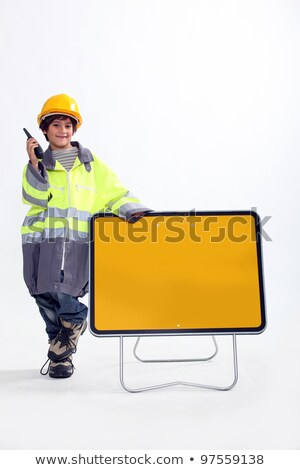 Boy dressed up as a traffic guard Stock photo © photography33