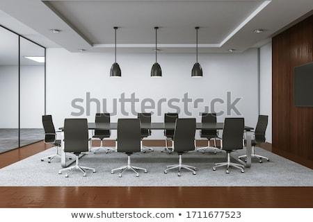 reunião · de · negócios · quarto · escritório · moderno · decoração · tabela - foto stock © dacasdo