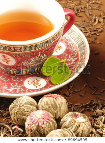 chinese tea in clay cup close up stock photo © calvste