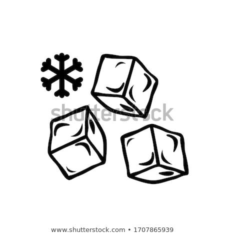 три · льда · стекла · таблице · белый · фон - Сток-фото © givaga