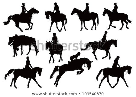 Ten horse silhouettes. Vector illustration Stock photo © leonido
