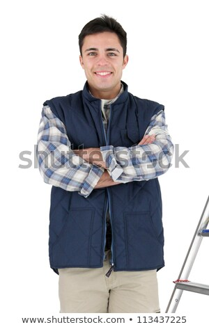 Craftsman crouching with tile Stock photo © photography33