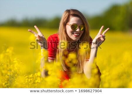 bastante · verão · mulher · amarelo · flores - foto stock © smithore
