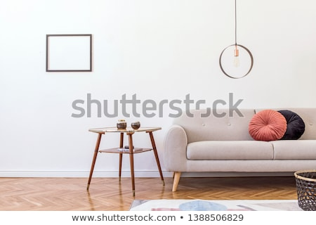 interieur · sofa · tabel · witte · bruin · ontwerp - stockfoto © Ciklamen