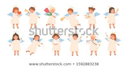 Garçon ailes d'ange trompette heureux enfant Photo stock © zzve