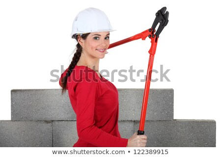 Woman holding bolt-cutters by unfinished wall Stock photo © photography33