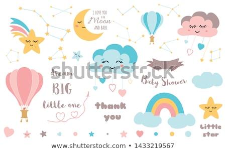 bonitinho · pequeno · bebê · criança · balões · aniversário - foto stock © juniart