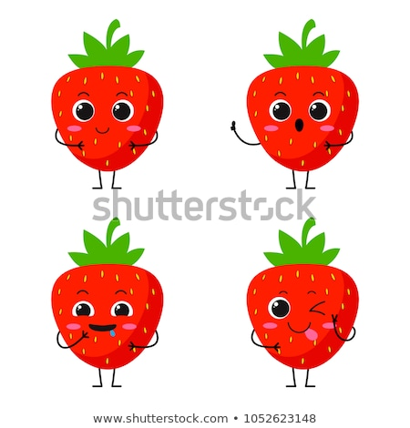 Strawberry cartoon character set Stock photo © dagadu