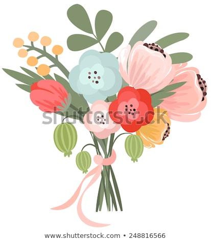 Színes virágmintás virágcsokor szalag kép gyönyörű Stock fotó © gregory21