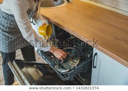 ev · işi · genç · kadın · bulaşık · bulaşık · makinesi · ev · kız - stok fotoğraf © lightpoet